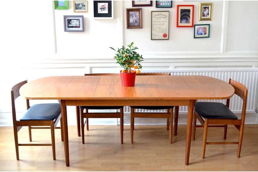 Vintage Uniflex Danish Style Teak Extending Dining Table And Chairs For Famous Danish Style Dining Tables (View 3 of 20)