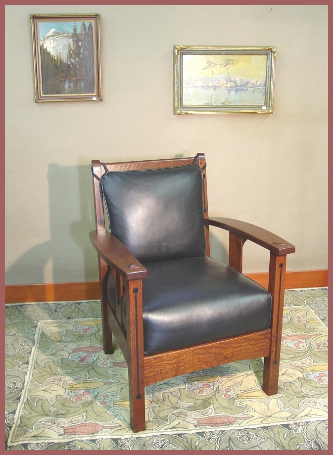 Voorhees Craftsman Mission Oak Furniture – Limbert Ebon Oak Inlaid Inside Most Up To Date Craftsman Arm Chairs (View 12 of 20)