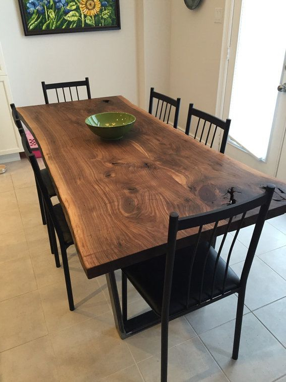 Walnut Dining Table Sets Within Well Known Walnut Dining Room Tables Walnut Live Edge Slab Table Set One Solid (View 17 of 20)