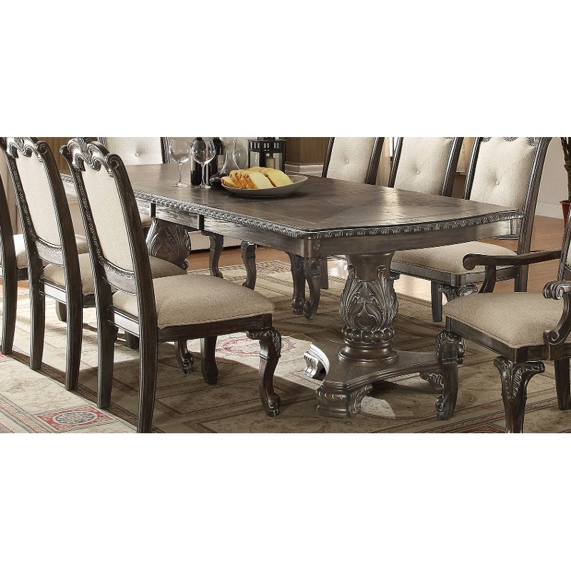 Washed Gray Ornate Double Pedestal Dining Table – Kiera Collection Regarding Famous Magnolia Home Double Pedestal Dining Tables (View 20 of 20)