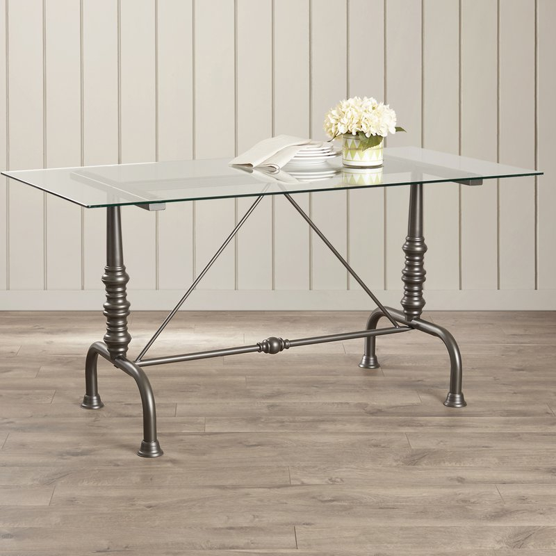 Featured Photo of Ina Pewter 60 Inch Counter Tables With Frosted Glass