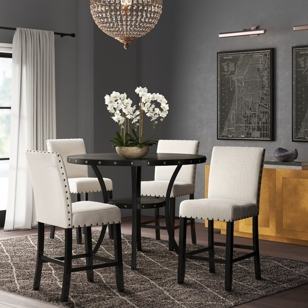 Wayfair In Fashionable Caira Black 7 Piece Dining Sets With Upholstered Side Chairs (View 20 of 20)