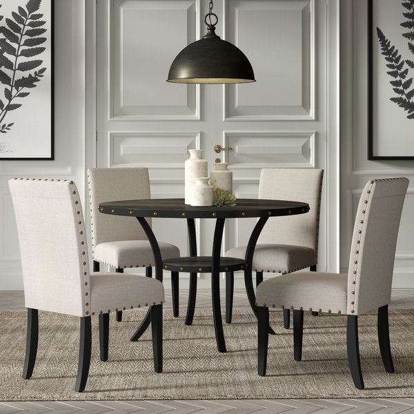 Wayfair Pertaining To Caira Black 5 Piece Round Dining Sets With Upholstered Side Chairs (View 17 of 20)
