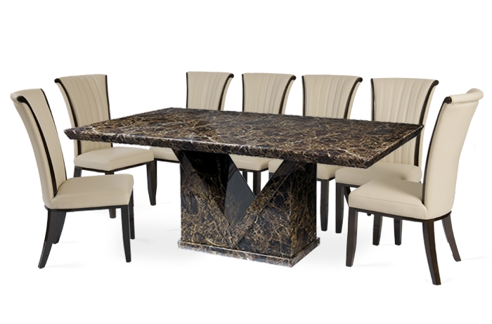 Well Known 8 Seater Dining Table Sets Regarding Large 8 Seater Dining Set White Glass Top Table  (View 19 of 20)