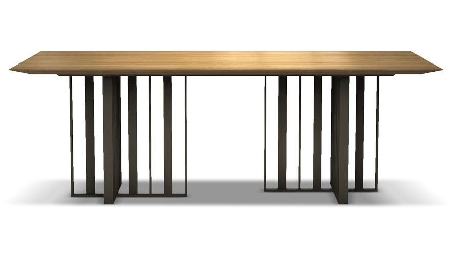 Well Known 87 Inch Dining Tables For Saida 87 Inch Wood And Aluminum Dining Table, Natural Oak On Bronze (View 5 of 20)