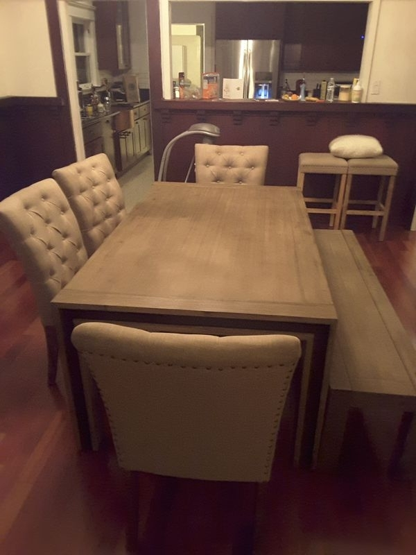 Well Known Amos Extension Dining Tables With Regard To Amos Extension Dinning Table With Bench And 4 Cartridge Chairs For (View 13 of 20)