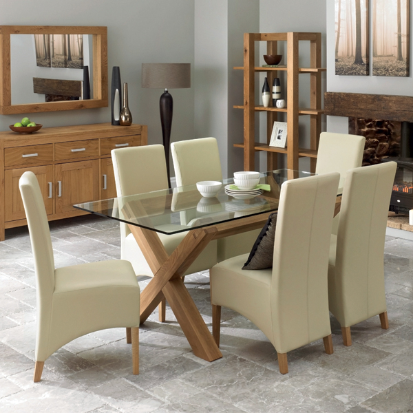 Well Known Bentley Designs Lyon Oak Glass Dining Set With Oak Glass Dining Tables (View 19 of 20)