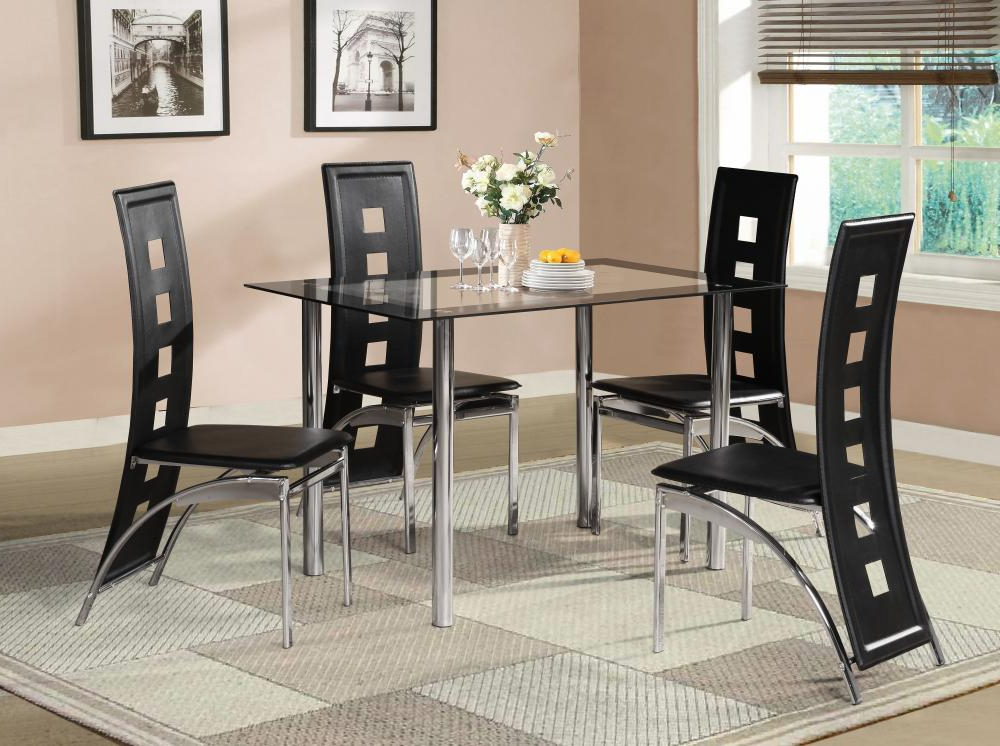 Well Known Black Glass Dining Room Table Set And With 4 Or 6 Faux Leather With Dining Table Sets With 6 Chairs (View 2 of 20)