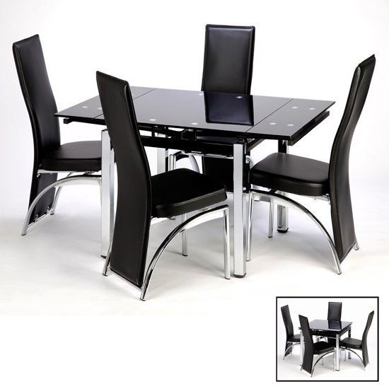 Well Known Black Glass Dining Tables Intended For Paris Extending Glass Dining Table With Chrome Legs  (View 18 of 20)