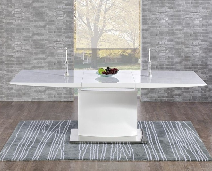Well Known Buy Mark Harris Hayden White High Gloss Dining Set – 160cm With Black Gloss Dining Tables And Chairs (View 20 of 20)