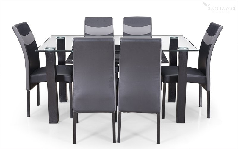 Well Known Buy Royaloak Micra 6 Seater Dining Set With Tempered Glass Top And With Regard To 6 Seat Dining Tables And Chairs (View 9 of 20)
