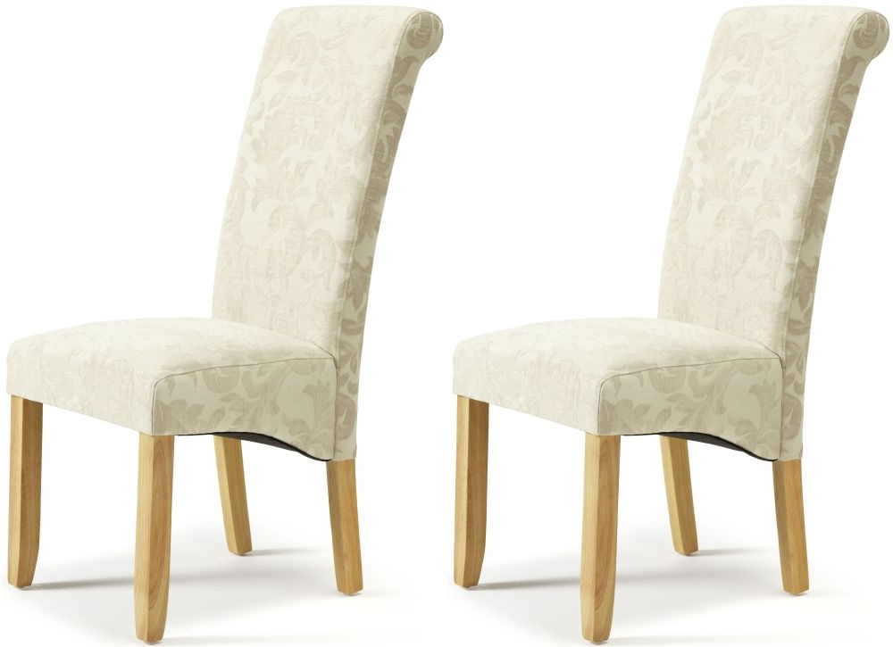 Well Known Buy Serene Kingston Cream Floral Fabric Dining Chair With Oak Legs In Oak Fabric Dining Chairs (View 20 of 20)
