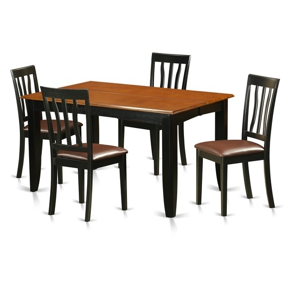 Well Known Caira 7 Piece Rectangular Dining Sets With Upholstered Side Chairs For Ciara Espresso 5 Pc Dining Set (View 19 of 20)