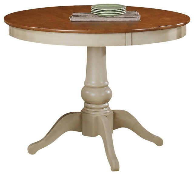 Well Known Candice Ii Round Dining Tables Regarding Steve Silver Candice 42 Inch Round Dining Table In Oak And White (View 9 of 20)