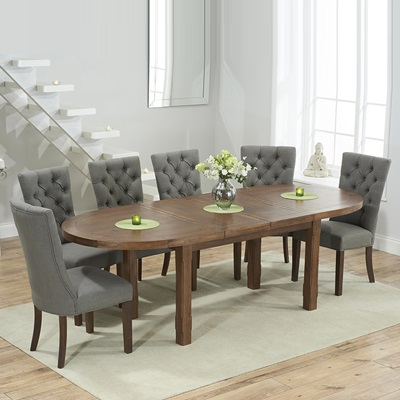 Well Known Chevron Dark Oak Oval Extending Dining Table With 6 Albany Grey For Dining Tables With Grey Chairs (View 19 of 20)