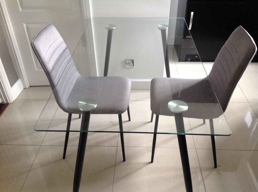 Well Known Clear Glass Dining Table With Black Legs, With Two Grey Fabric With Clear Glass Dining Tables And Chairs (View 10 of 20)