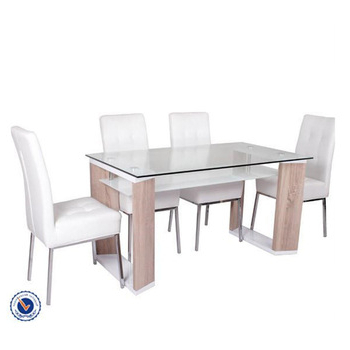 Well Known Clear Top Mdf Legs Two Layer Glass Dining Tables For Sale – Buy Within Glass Dining Tables With Wooden Legs (View 11 of 20)