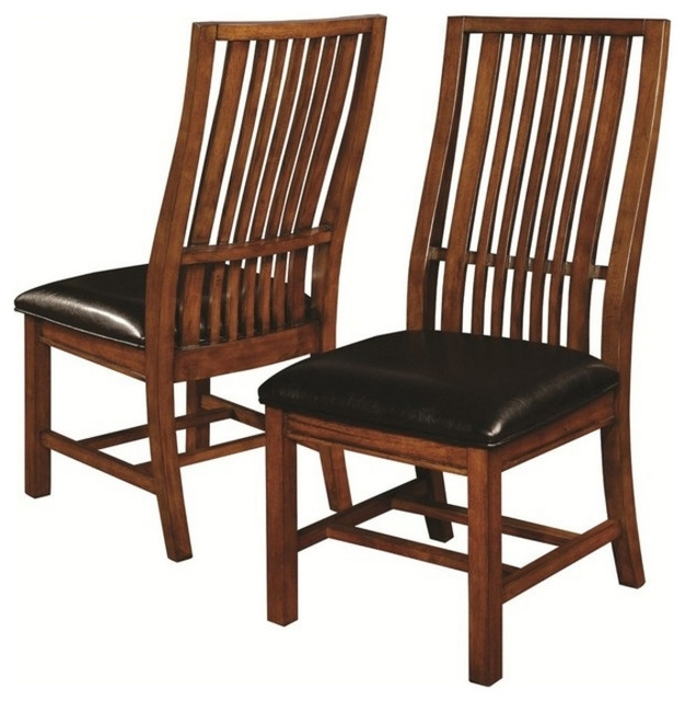 Well Known Coaster Side Chair In Walnut Finish, Set Of 2, 105452 – Craftsman Intended For Craftsman Side Chairs (View 16 of 20)