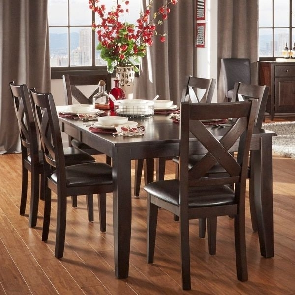 Well Known Combs 5 Piece 48 Inch Extension Dining Sets With Mindy Side Chairs For Acton Warm Merlot X Back Casual 7 Piece Extending Dining Set (View 20 of 20)