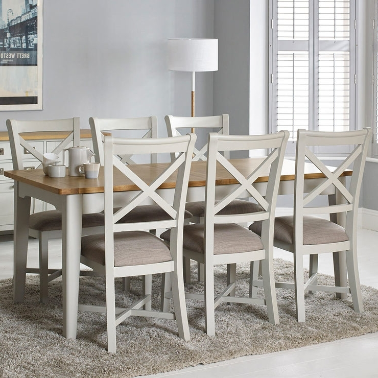 Well Known Combs Extension Dining Tables Intended For Bordeaux Painted Ivory Large Extending Dining Table + 6 Chairs (View 8 of 20)