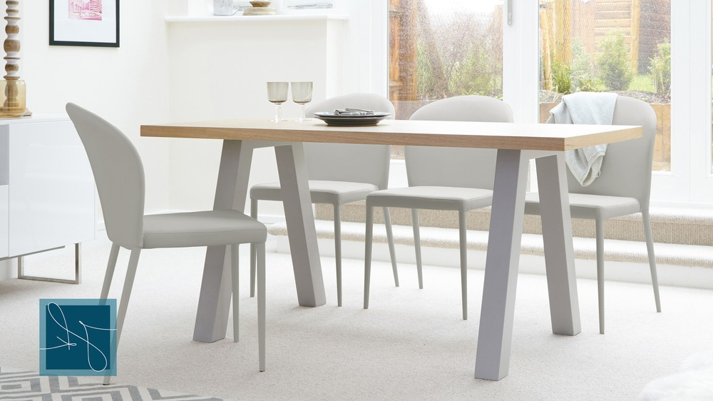 Well Known Contemporary 6 Seater Oak And Matt Grey Dining Table (View 2 of 20)