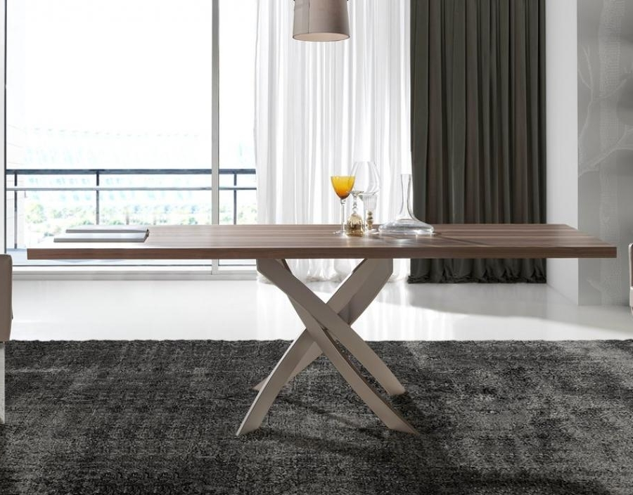 Well Known Contemporary Base Dining Tables Within Porto Lujo Torrox Contemporary Walnut Top Dining Table, Base In (View 19 of 20)