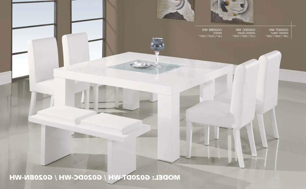Well Known Contemporary White Wood Middle Frosted Glass Dining Table Set With Regard To White Dining Tables Sets (View 16 of 20)