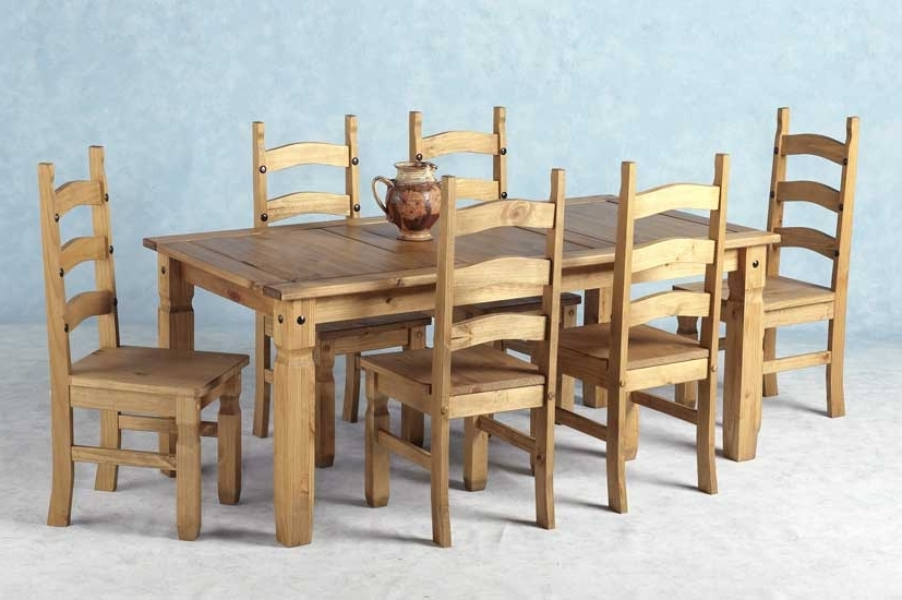 Well Known Corona Mexican Pine Dining Set 6 Dining Table & 6 Chairs Intended For 6 Chairs Dining Tables (View 19 of 20)