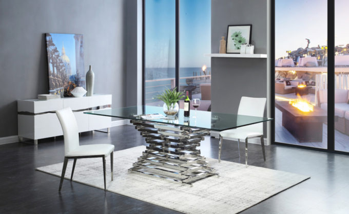 Well Known Crawford Rectangle Dining Tables Within Dining Room: Home Decorations Ideas With Fabulous Contemporary Glass (View 15 of 20)