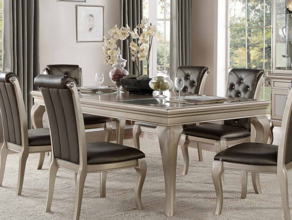 Well Known Crawford Rectangle Dining Tables Within Homelegance Crawford Dining Table In Silver (View 19 of 20)