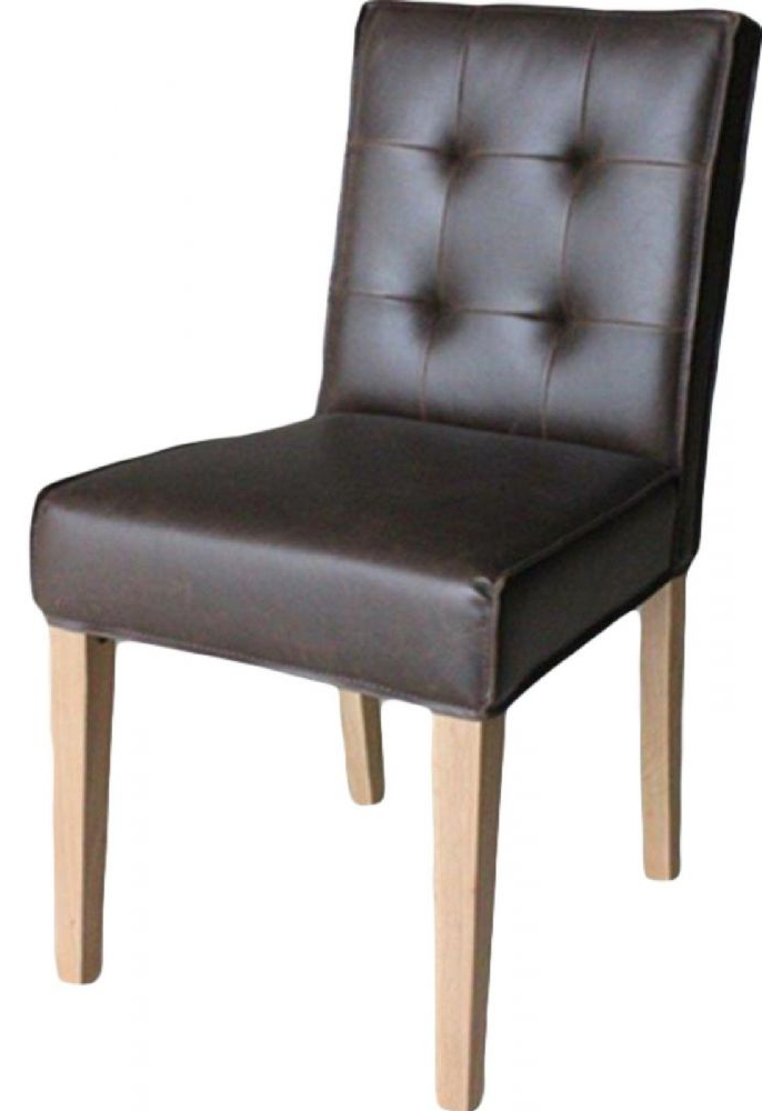 Well Known Dark Brown Leather Dining Chairs Intended For Pair Of Club Oak Dark Brown Faux Leather Dining Chairs (Gallery 3 of 20)