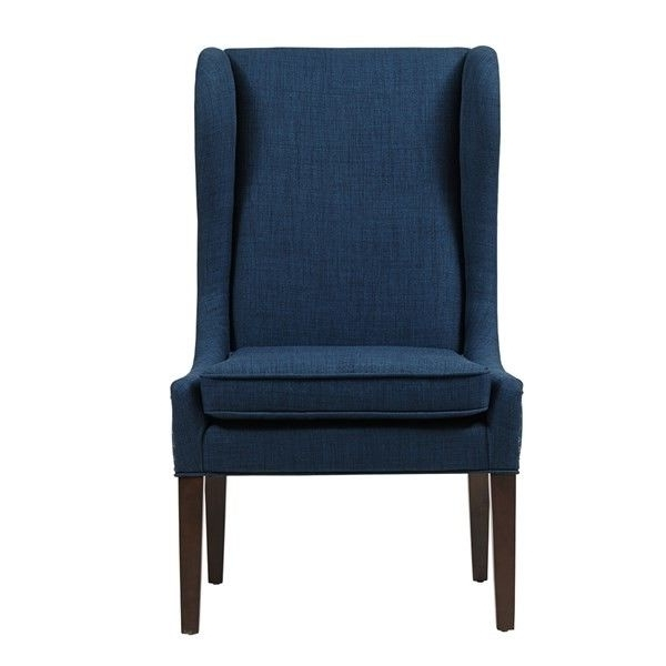 Well Known Dining Chairs With Blue Loose Seat Pertaining To Navy Blue High Back Black Wood Dining Chairs With Smooth Silhouette (View 19 of 20)
