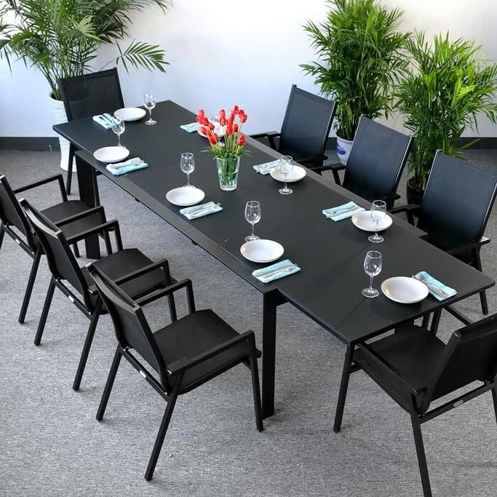 Well Known Dining Table Set Violet Black – 8 Person Aluminium & Glass Extension With Black 8 Seater Dining Tables (View 20 of 20)