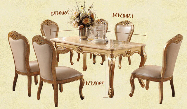 Well Known Dining Tables And Chairs Sets With Dining Room Marble Dining Table Set Luxury European Style Restaurant (View 20 of 20)