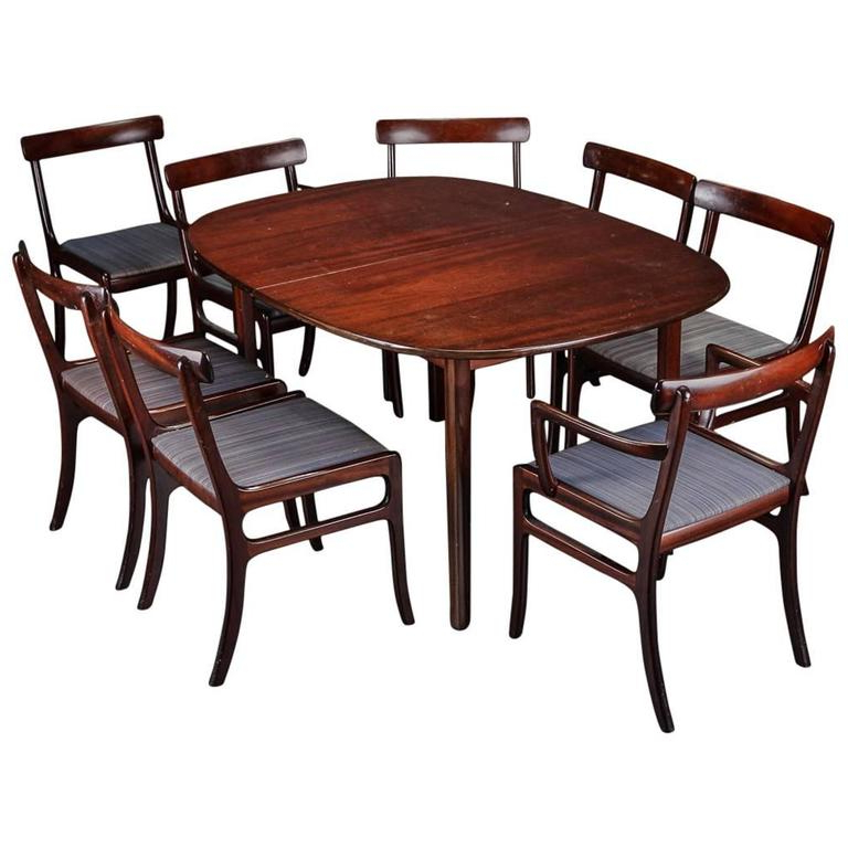 Well Known Dining Tables For Eight Pertaining To Ole Wanscher 'rungstedlund' Dining Table And Eight Chairs For Sale (View 16 of 20)