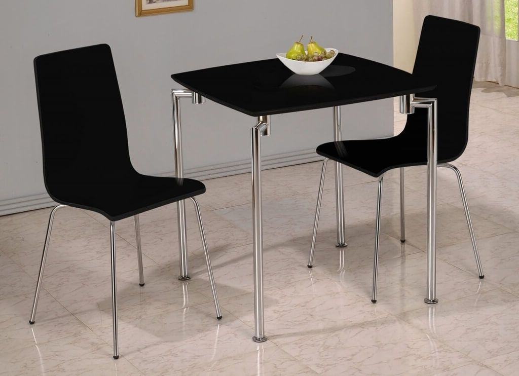 Well Known Dining Tables For Two With Furniture: Contemporary Black Small Dining Table And Black Chairs (View 16 of 20)