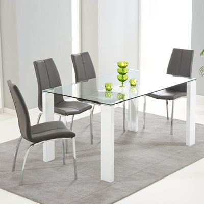 Well Known Dining Tables Grey Chairs Pertaining To Lorenzo Glass 150Cm Dining Table With 6 Carter Grey Chairs – Robson (Gallery 16 of 20)