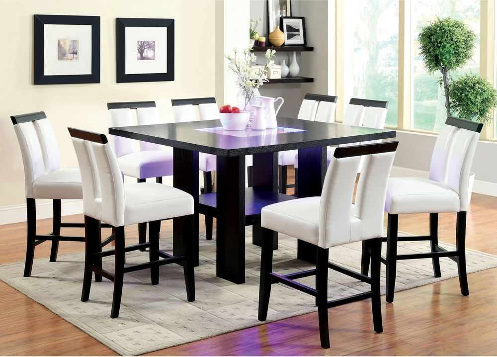 Well Known Dining Tables With Led Lights Throughout Dining Room Table Square Counter Height Led Lights Tabletop Dark (View 19 of 20)