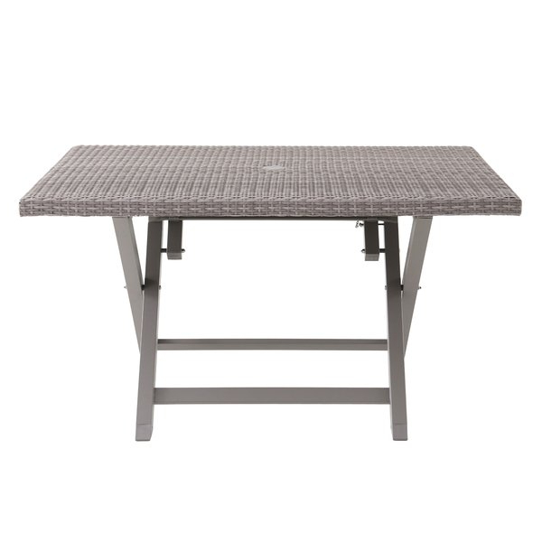 Well Known Ebern Designs Specht 6 Person Folding Resin Wicker Dining Table With Rattan Dining Tables (View 10 of 20)