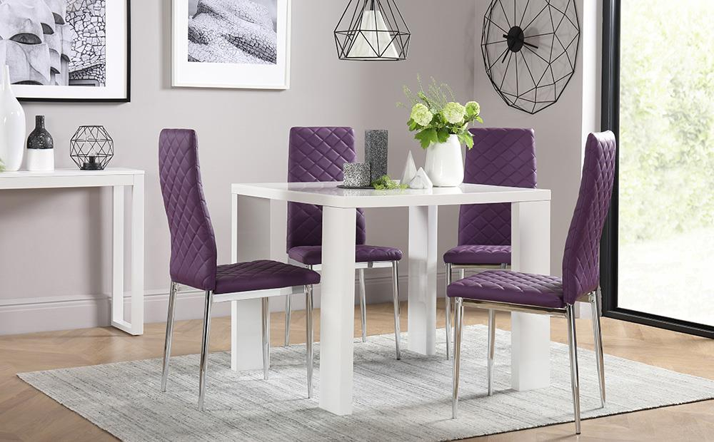Well Known Eden Square White High Gloss Dining Table With 4 Renzo Purple Chairs For Dining Tables And Purple Chairs (Gallery 18 of 20)