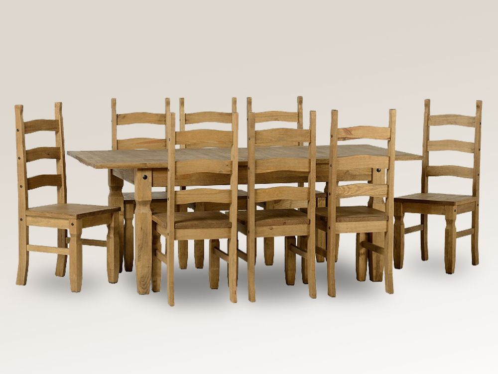 Well Known Extending Dining Tables And 8 Chairs Pertaining To Seconique Corona 160cm Pine Extending Dining Table And 8 Chairs Set (View 17 of 20)