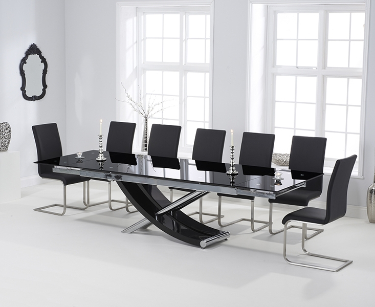 Well Known Extending Glass Dining Tables And 8 Chairs Intended For Carlton Black Glass 210cm Extending Dining Set With 8 Boston Black (View 7 of 20)
