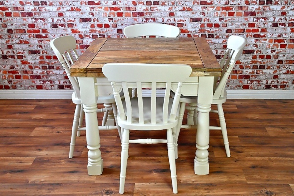 Well Known Extending Rustic Farmhouse Dining Table Set – Drop Leaf Painted In With Drop Leaf Extendable Dining Tables (View 7 of 20)