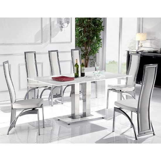 Well Known Features: • Outstanding Glass Furniture, The Romano White Glass Inside White Dining Tables And 6 Chairs (View 20 of 20)