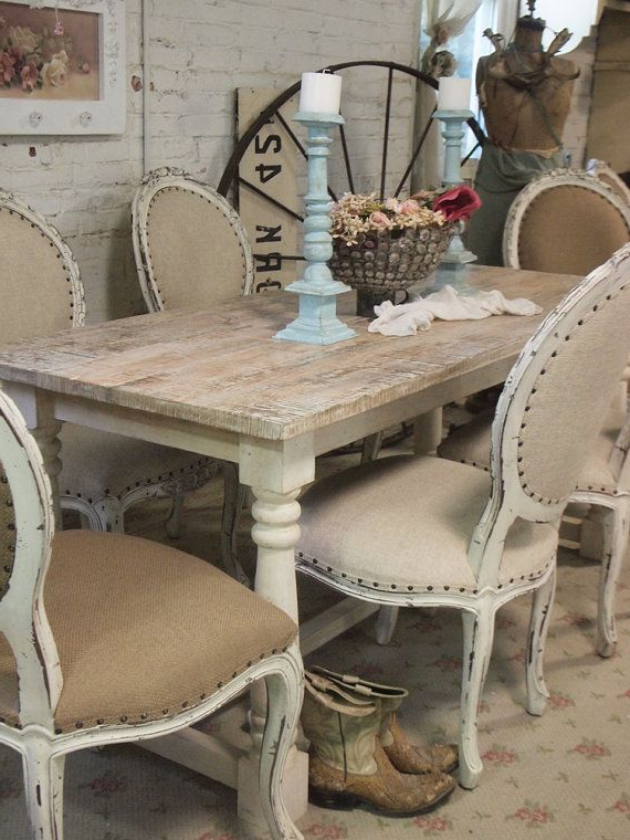 Well Known French Country Dining Tables Regarding Painted Cottage Chic Shabby French Linen Farmpaintedcottages (View 10 of 20)