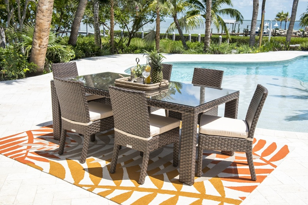 Well Known Gavin 7 Piece Dining Sets With Clint Side Chairs With Hospitality Rattan Fiji 7 Piece Wicker Dining Set – Modern Wicker (View 12 of 20)