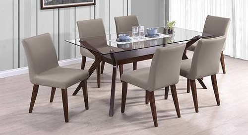 Well Known Glass 6 Seater Dining Tables Inside 6 Seater Dining Table With Glass Top, Glass Dining Room Table, Glass (View 8 of 20)
