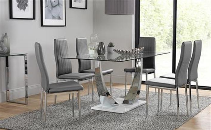 Well Known Glass And Chrome Dining Tables And Chairs Inside  (View 19 of 20)