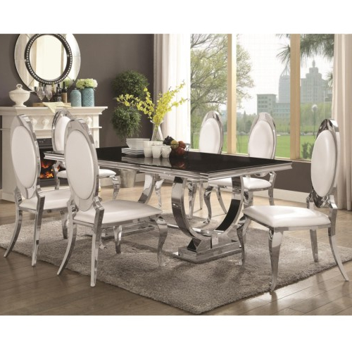 Well Known Glass And Stainless Steel Dining Tables Inside Furniture : Antoine Stainless Steel Dining Table With Glass Top (View 19 of 20)