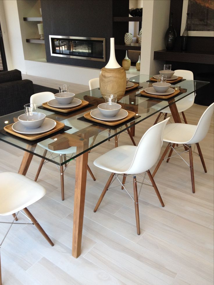 Well Known Glass Dining Tables And Chairs With Sticotti Glass Dining Table And Eames Dining Chairs In Walnut (View 19 of 20)